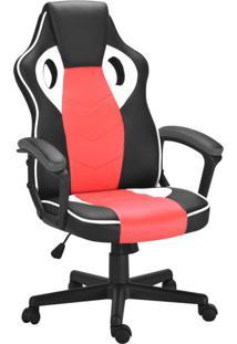 Cadeira De Escritório Diretor Giratória Gamer Scifi Preta, Vermelha E Branca