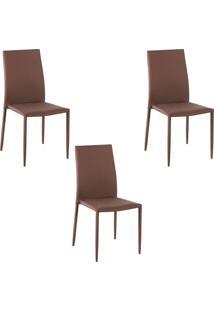 Kit 3 Cadeiras Decorativas Sala E Cozinha Karma Poliã©Ster Cafã© - Gran Belo - Cafã© - Dafiti