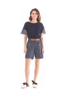 Bermuda Comfort Detalhe Ziper Jeans 36