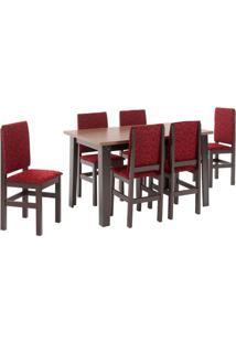 Conjunto De Mesa Com 6 Cadeiras Floresta Tabaco