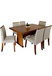 Conjunto Sala De Jantar Mesa Devert + 6 Cadeiras Rogar Cindy, Capuccino - 190121