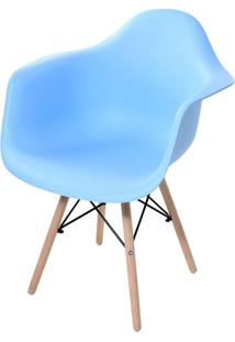 Cadeira Arm Com Braco Azul Fosco Base Madeira Clara - 51954 - Sun House