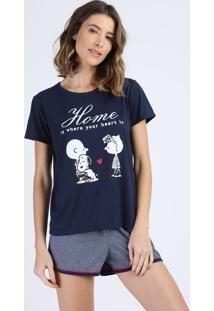 Pijama Feminino Snoopy Manga Curta Azul Marinho