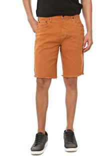 Bermuda Sarja Calvin Klein Jeans Reta Destroyed Color Laranja