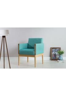 Poltrona Decorativa De Madeira Estofada - Poltrona Para Recepção Cor Azul Turquesa - Verniz Amendoa \ Tec.950 - Mariscal - 62X64X83 Cm