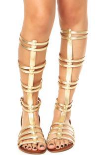 Rasteira Lillys Closet Gladiadora Longa Dourada