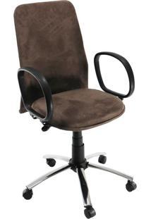 Cadeira De Escritório Diretor Suede Ajustável Cromada E Marrom