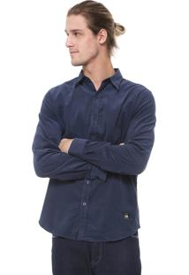 Camisa Ellus 2Nd Floor Reta Veludo Cotelê Corduroy Azul