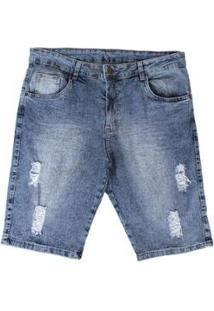 Bermuda Jeans Besni Plus Destroyd Masculina - Masculino-Azul+Off White