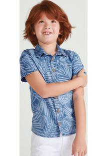 Camisa Jeans Infantil Menino Em Algodão Estampado Hering Kids