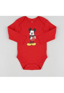 Body Infantil Mickey Manga Longa Vermelho
