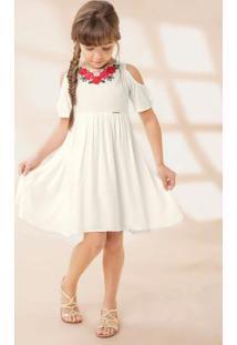 Vestido Branco Com Bordado Floral Carinhoso