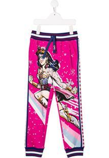 Dolce & Gabbana Kids Calça Esportiva Wonder Woman - Rosa