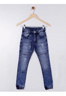 Calça Jeans Juvenil Bob Bandeira Masculina - Masculino-Azul
