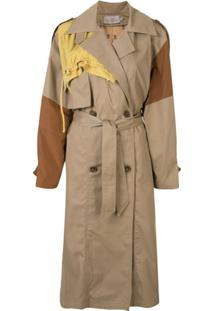 Preen By Thornton Bregazzi Trench Coat Color Block - Marrom