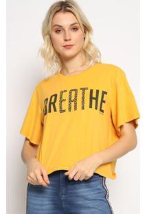 "Camiseta Animal Print ""Breathe"" - Amarela & Preta - Sommer"