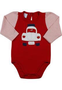 Body Bebê Cotton E Listrado Fusca - Vermelho Rn