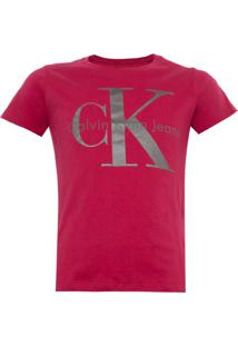 Camiseta Calvin Klein Jeans Foil Infantil Rosa