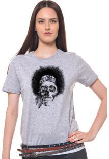Camiseta Feminina Joss Caveira Black Power Cinza Mescla