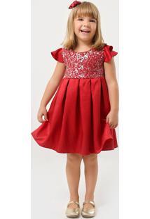 Vestido Pipoca Doce Paetê Vermelho
