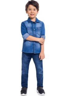 Camisa Jeans Infantil Menino Milon Azul