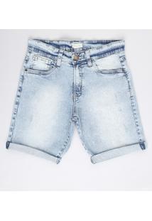 Bermuda Jeans Infantil Reta Com Rasgos Azul Claro