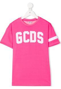 Gcds Kids Vestido Reto Com Logo Bordado - Rosa