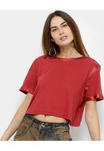 Camiseta Lança Perfume Cropped Estonada Feminina - Feminino-Vermelho