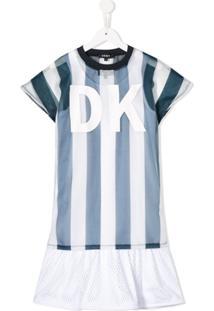 Dkny Kids Vestido Com Sobreposição E Logo - Branco