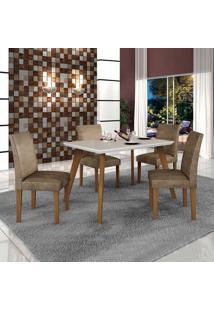 Conjunto De Mesa De Jantar Lavinia Com 4 Cadeiras Olimpia Veludo Imbuia Mel Off White