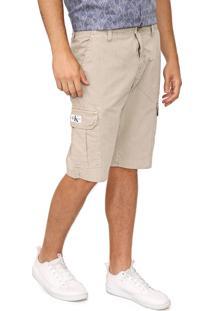 Bermuda Sarja Calvin Klein Jeans Cargo Pespontos Bege