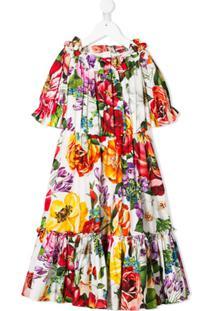 Dolce & Gabbana Kids Vestido Midi Com Estampa Floral - Branco
