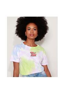 Camiseta Feminina Ampla Tom E Jerry Estampada Tie Dye Manga Curta Decote Redondo Multicor