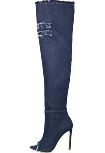Bota Open Boot Conceito Fashion Over The Knee Jeans Azul Escuro