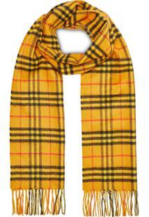 Burberry Cachecol The Classic Vintage Check De Cashmere - Amarelo