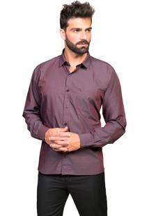 Camisa Manga Longa Tony Menswear Sr. Algodão Com Bolso Vinho