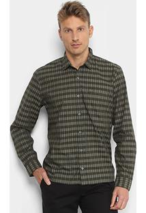 Camisa Xadrez Lacoste Listras Bolso Regular Fit Masculina - Masculino-Verde 1850a5bff6