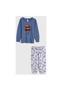 Pijama Malwee Liberta Longo Infantil Nuvens Azul/Cinza