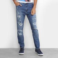 Calça Jeans Slim Coca-Cola New Carrot Destroyed Cintura Média Masculina -  Masculino-Azul 24042fc1ac8