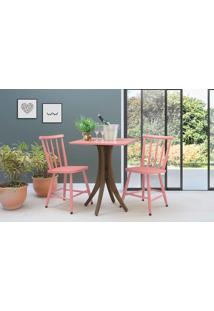 Conjunto Mesa Bistrô Quadrada Com 2 Cadeiras Juliette - Nogueira E Rosa Coral