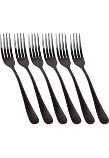 Conjunto De 6 Garfos De Sobremesa Elite Black - Incolor - Dafiti