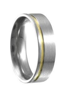 Aliança Compromisso De Aço C/ Filete De Ouro -12 - Unissex-Cinza