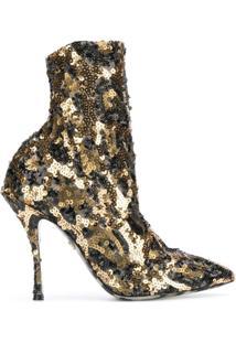 Dolce & Gabbana Ankle Boot De Couro Com Paetês - Dourado