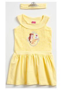 Vestido Infantil Estampa Bela Tiara Disney
