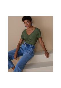 Amaro Feminino T-Shirt Básica Viscose Decote V, Verde Militar