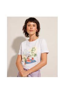 """Camiseta De Algodão """"Reconecte"""" Manga Curta Decote Redondo Roxo"""