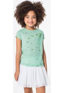 Camiseta Infantil Bolsinho Folhas Reserva Mini Feminina - Feminino-Verde Claro