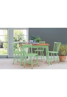 Mesa Vintage Com Cadeiras Mimo 110Cm Verniz Jatobá E Laca Verde Sálvia