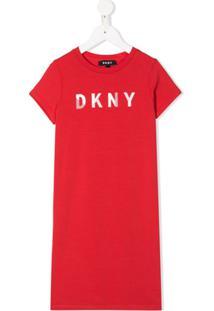 Dkny Kids Vestido Reto Com Estampa De Logo - Vermelho