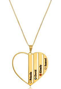 Colar Coração Vazado Com Nomes Em Resina E Cristais Coloridos Banhado Em Ouro 18K